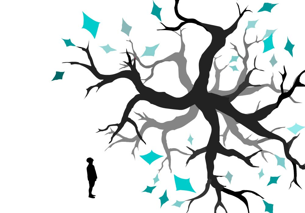 figure in front of tree branches with geometric turquoise leaves